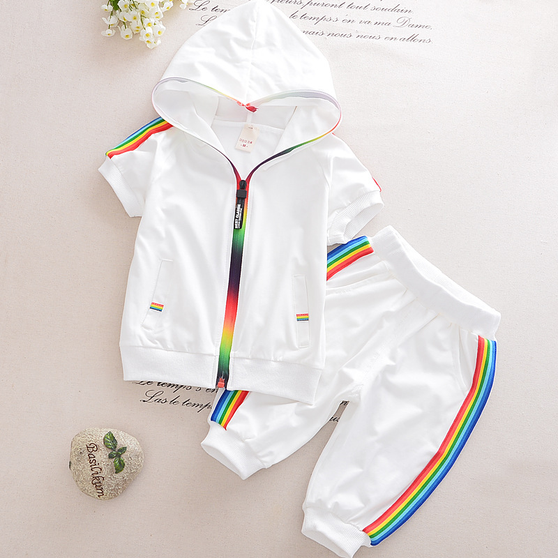 Kid Boy Girl Clothes Sportswear Summer Fashion Short Sleeve Colorful Zipper Hooded Clothing For Girls Children Outfit Set 1