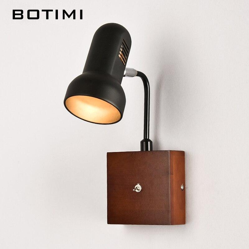 BOTIMI Réglable Mur Lampe Avec Interrupteur Moderne Bois LED