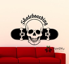 Extreme Sports Skateboarding Skater Skull Wall Sticker Vinyl Decal Home Room Decor Quality Mural Teenboys Bedroom MURAL NY-162