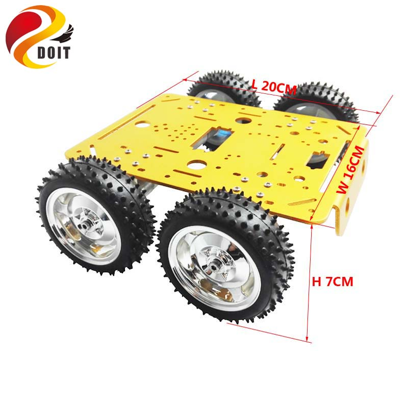Original DOIT C300 4WD Wheel Vehicle Robot 4 Motor and Driving Wheel Smart Car DIY RC Toy Remote Control Mobile Platform free shipping 3v 0 2a 12000rpm r130 mini micro dc motor for diy toys hobbies smart car motor fod remote control car