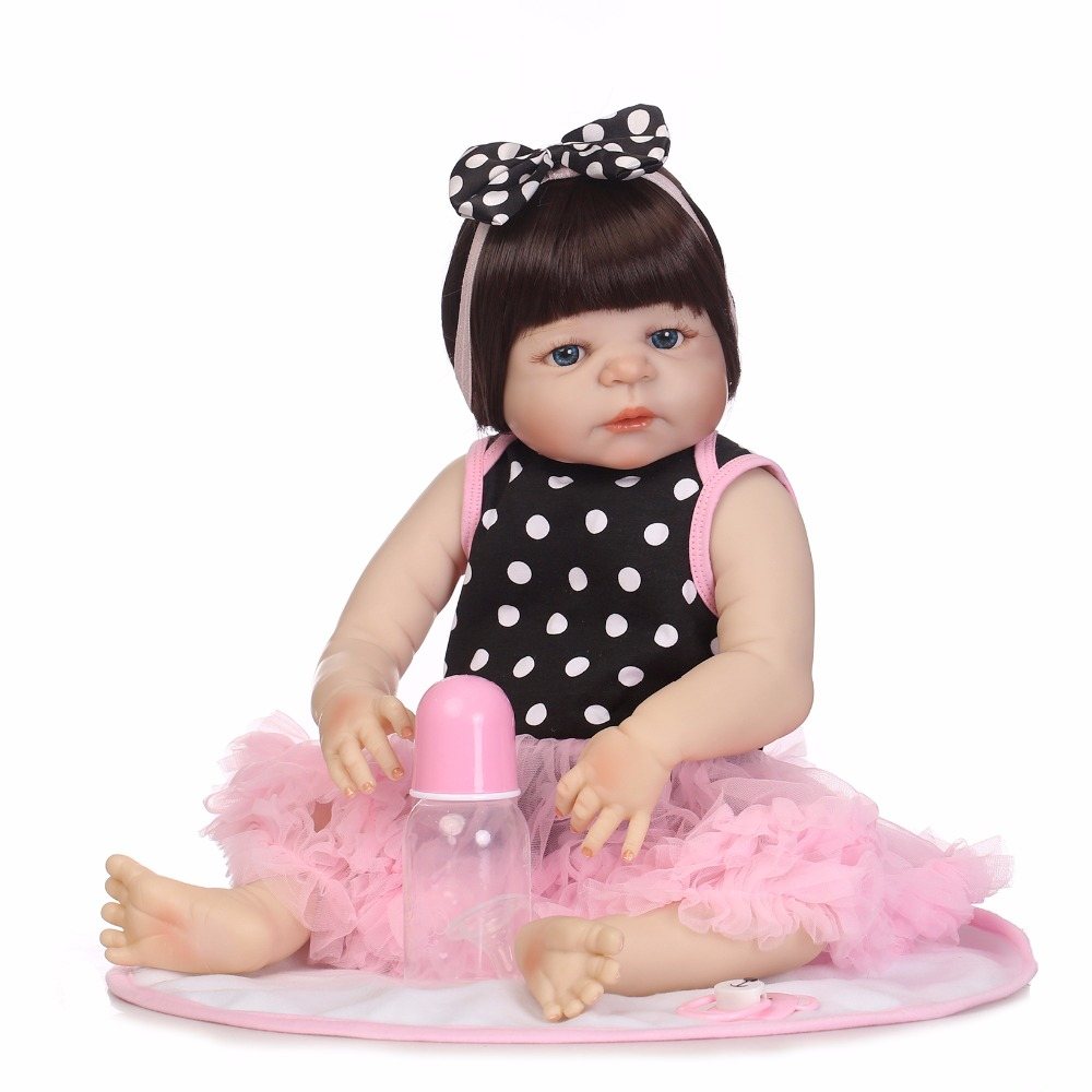 NPK 19 46cm Full Body Silicone Reborn Baby Girl Dolls Reborn Can Bath Bebes Reborn Babies