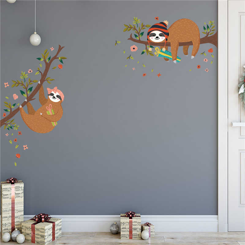 KAKUDER Cartoon Wall Sticker Home Decoration Sloth Tree Branch Cute Sticker For Wall Bedroom Decoration 50X70cm dropship March5