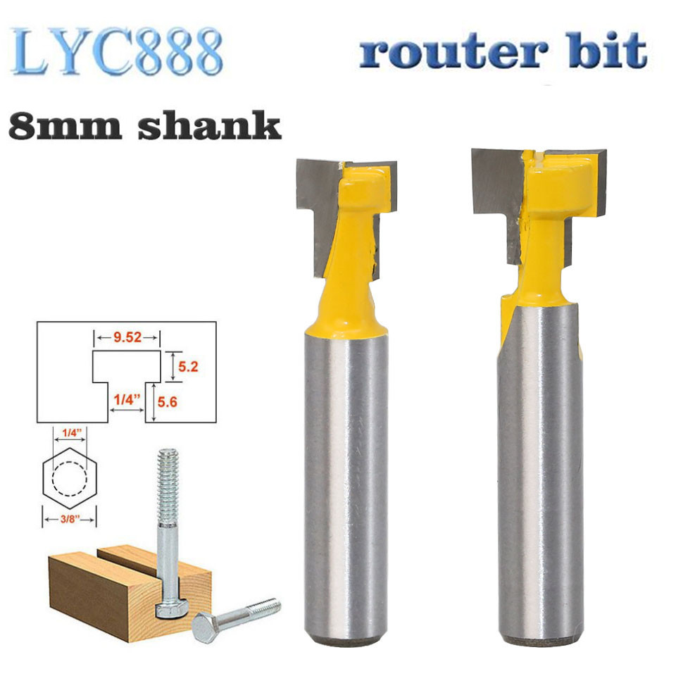 2pcs/set 8mm Shank T-Slot Keyhole Cutter Wood Router Bit Carbide Cutter For Wood Hex Bolt T-Track Slotting Milling Cutters(China)