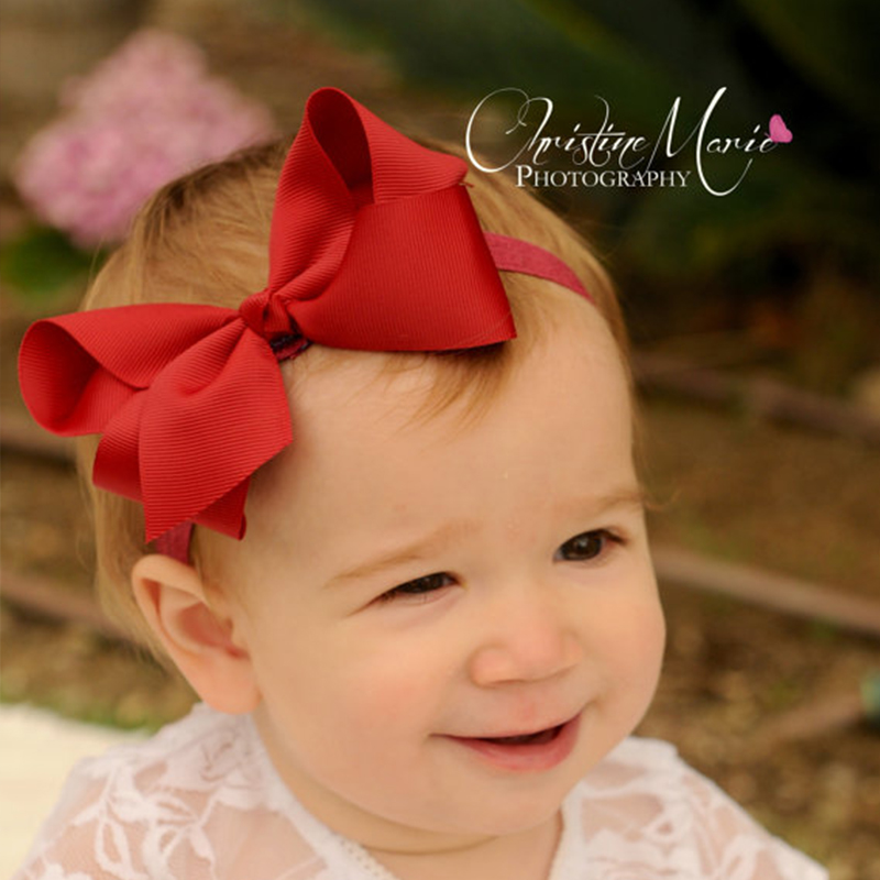 Kids Girls Big Bow Knot Headband Kids Hair Accessories Elastic grosgrain Bezel Headwear scrunchy hairband EASOV W240