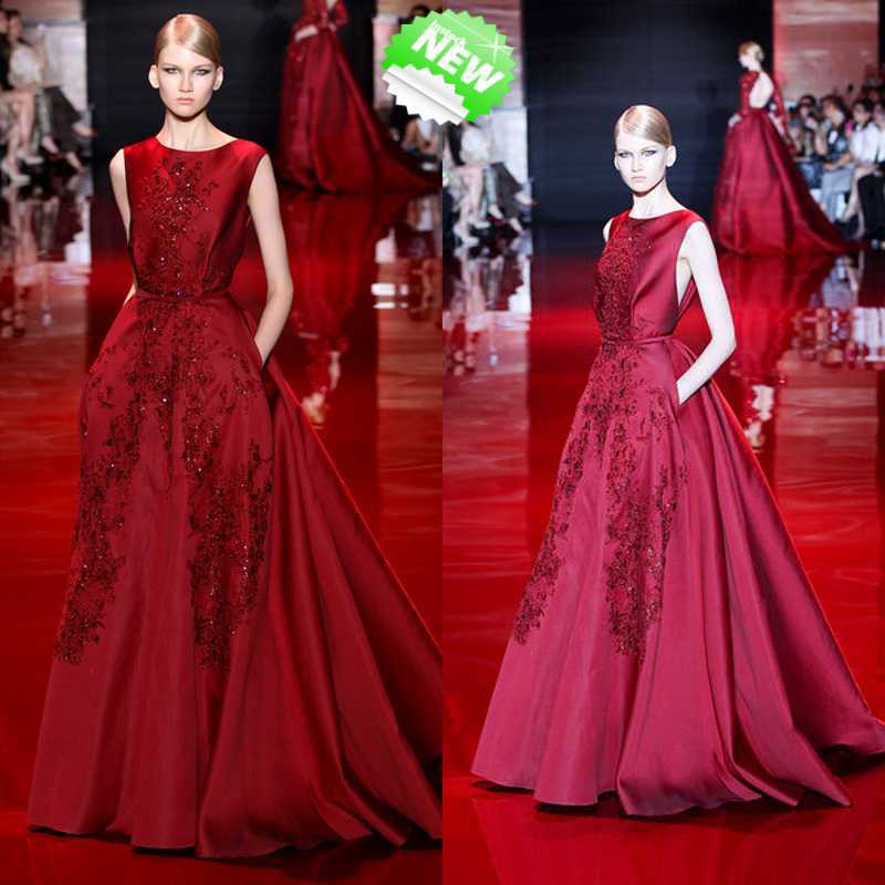 Fashion Design Formal Dress Scoop Floor Length Beaded Red Puffy Gown Women Custom Made Sexy A