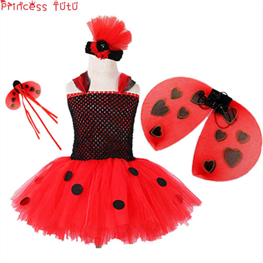 d661bc81285 Ladybug Costume Set Girl Tutu Dress Black And Red Halloween Fluffy  Knee-length Winter Dress Baby Girl Birthday Party Dress Up