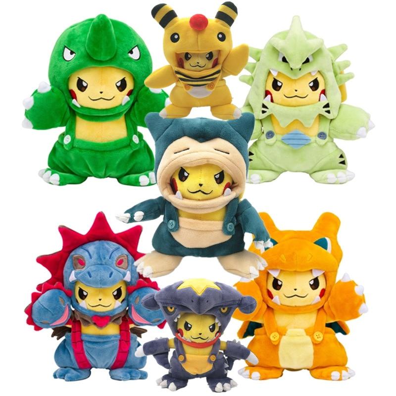 "Pokemon Pikachu with Snorlax Suit Cloak Plush Toy Kabigon Stuffed Animal Doll 8/"""