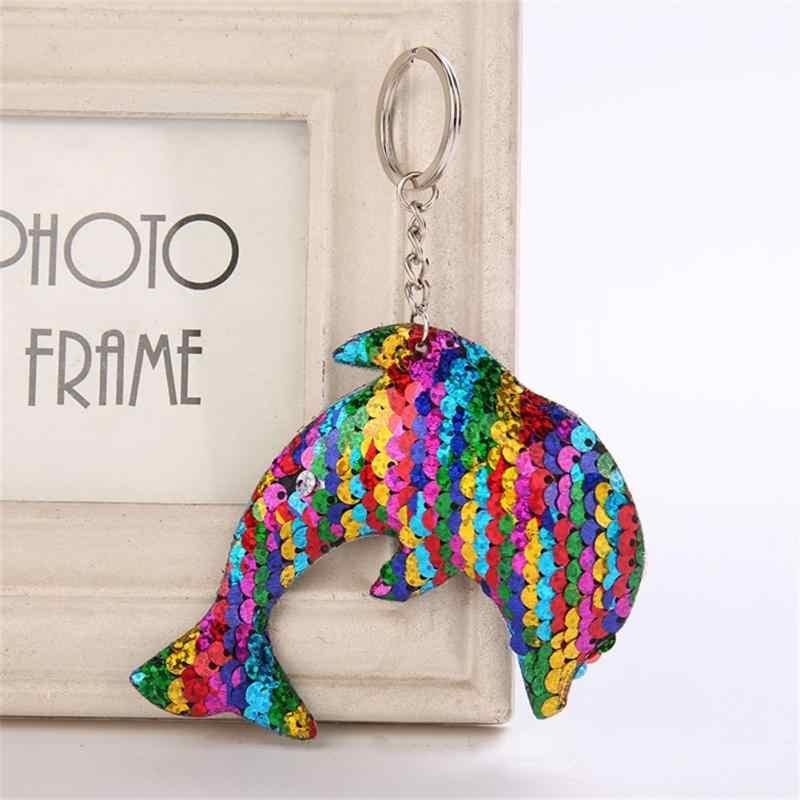 Chaveiro da moda Golfinho Forma Corrente Chave Reflexivo Brilhante para As Mulheres Pompom Glitter Lantejoulas Chave Presente Anel Jóias llaveros