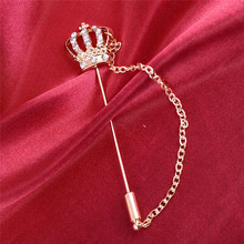 2019 Sale Real Broche Fashion Mens Suit Shirt Collar Accessory Crown Brooch Pin Tassel Chain Brooches For Womens Christmas Gift
