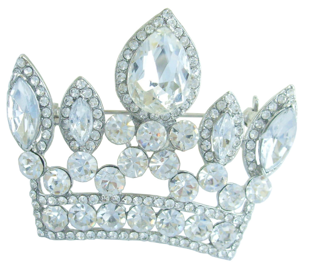 Gorgeous Wedding Bridal Crown Brooch Pin Clear Austrian Crystal ...