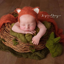Newborn Fox Hat With Matching Wrap Photo Props Baby Scarf Photography Props set of fashion color matching knitting props clothes hat for baby s photography