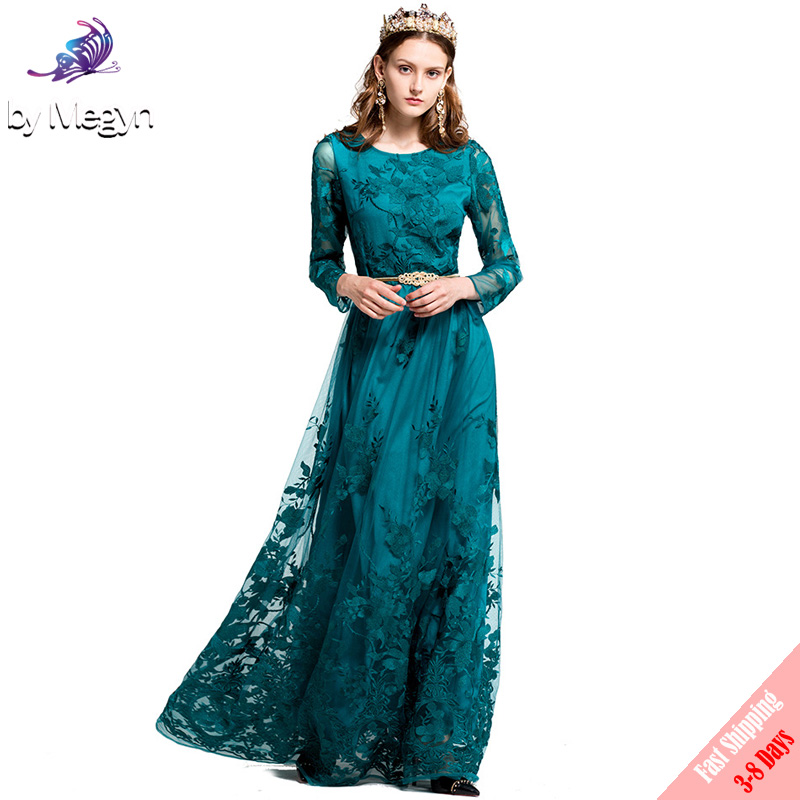 fd66464b65b8d High Quality 2017 Fashion Designer Party Maxi Dress Women s Full Sleeve  Vintage Mesh Embroidered Runway Maxi