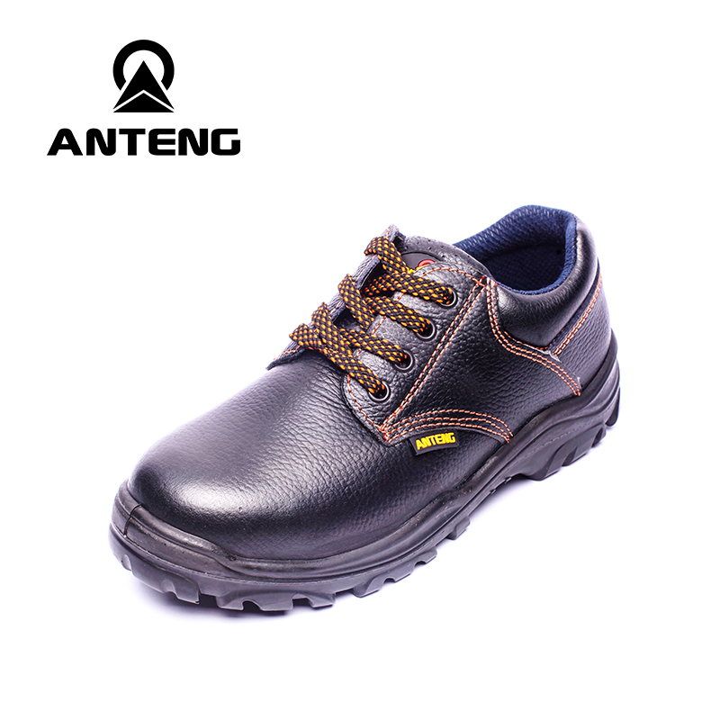 ФОТО Men's Summer Black Steel Toe Electrician Genuine Leather Safety Shoes Industry Chemical Career Workshop Work Boots Safety Shoes