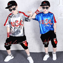 hip hop costume neon clothes street dance clothing set boy child holographic tops shorts