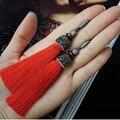 Original handmade bohemia strass branco cz zircon conector vermelho tecido longo tassel gota dangle fácil fecho brincos para as mulheres