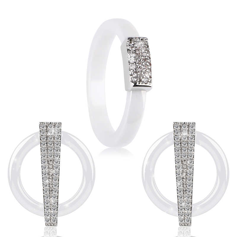 Luxus Shinny Bling CZ U Form Stud Ohrringe Ringe Set Mode Runde Strass Keramik Ringe Ohrringe Set Hochzeit Schmuck Geschenk