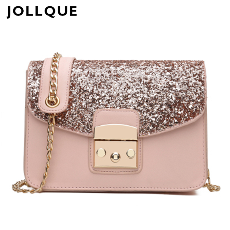 Jollque Small Flap Bag Women Messenger Bags Leather Handbags Bling Crossbody Bag Pink Shoulder Bag Women Clutches Purse women shoulder bags leather handbags shell crossbody bag brand design small single messenger bolsa tote sweet fashion style
