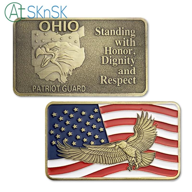 50/100 pièces debout avec honneur, dignité et Respect états-unis Ohio Patriot Guard Bar commémorative objets de collection cadeau de lingots
