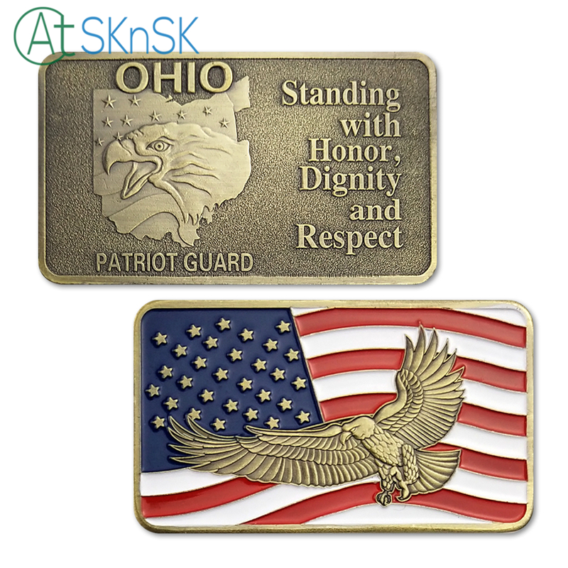 50/100pcs Standing with Honor, dignity and Respect United States Ohio Patriot Guard Bar Commemorative Collectibles Bullion Gift