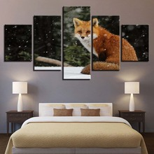 Animal Print Fox Dog Bear Lion color Paintings Poster Wall Print color 5 Panel Home Decorations Living Room Abstract 290 все цены