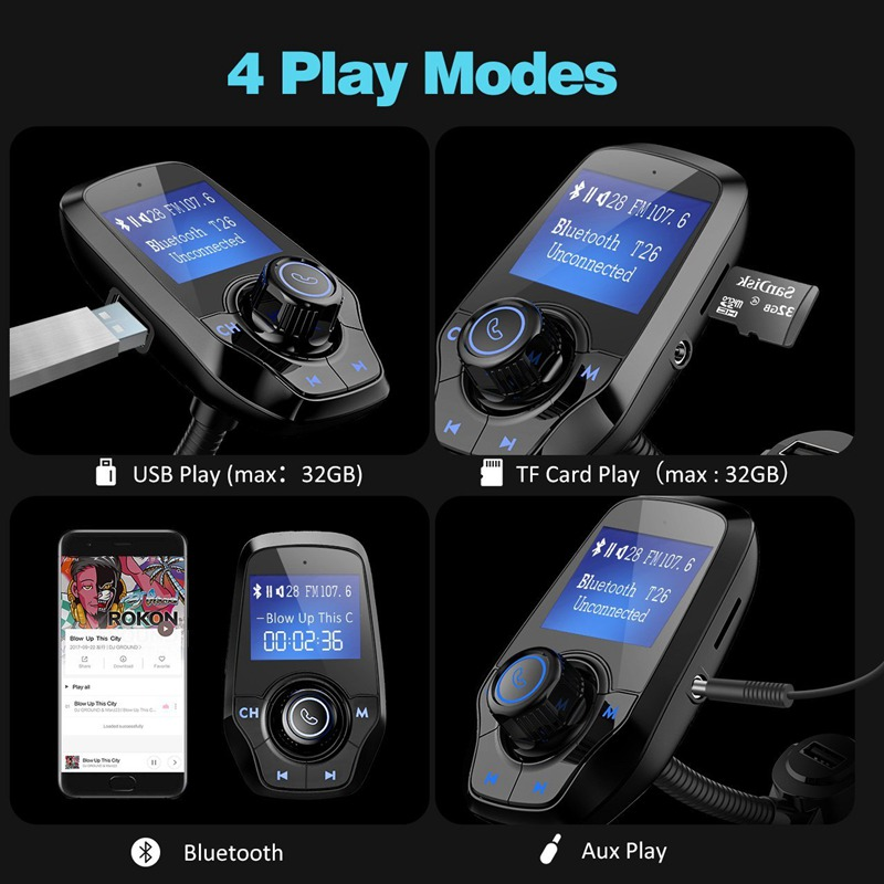 """מקרנים ופלאזמות VicTsing משדר רדיו אלחוטי נגן מוסיקה משודרג Bluetooth משדר FM עם 1.44 """""""" מטען USB כפול תצוגה עבור רכב (5)"""