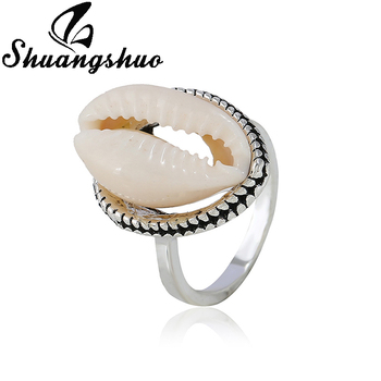 Shuangshuo Natural Shells Ring For Women Hawaiian Handmade Sea Shell Finger Rings Bohemian Cowrie Beach Jewelry Best Friend Gift image