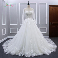 Dream Angel Vestido De Noiva Long Sleeve A Line Wedding Dress 2017 Sexy Illusion Appliques Lace