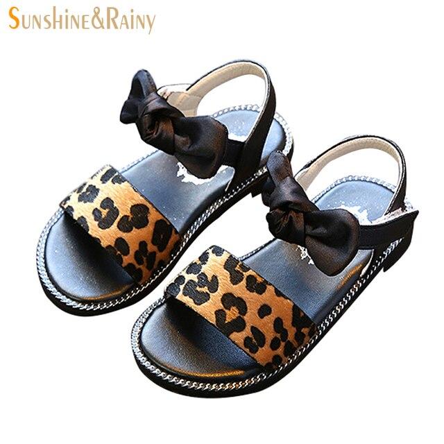 exclusive shoes pick up cheap prices € 13.27  Sunshine & Rainy Leopard Beach sandalias para niñas Bowtie niños  princesa Zapatos para niños sandalias de la muchacha del verano 2018 en ...