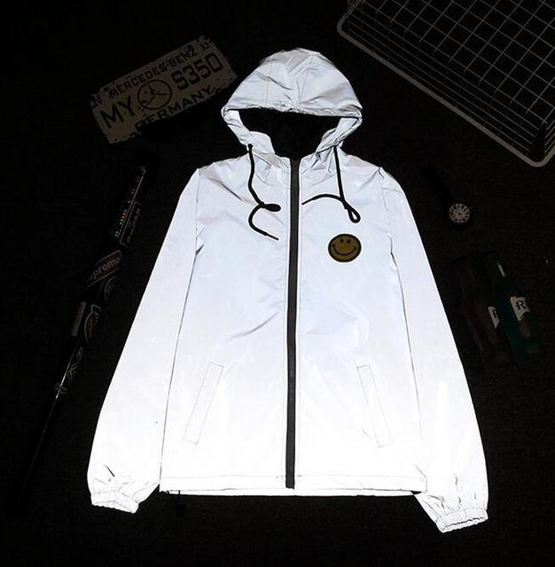 Губка мыши тонкий ветровка 3 м отражающей куртка мужчины повседневная хип-хоп куртки и пальто Улыбка логотипы
