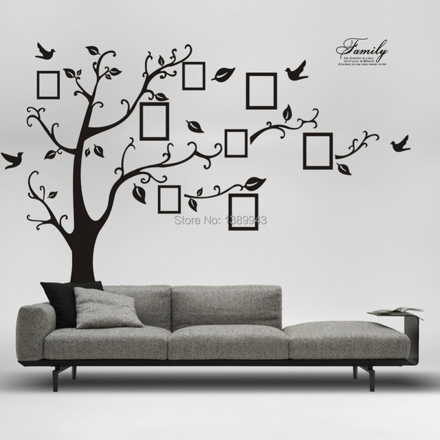 Latest XL 250cm*200cm Fashion Family Tree Stickers On Wall Photograph Frame Wall  Decal Name