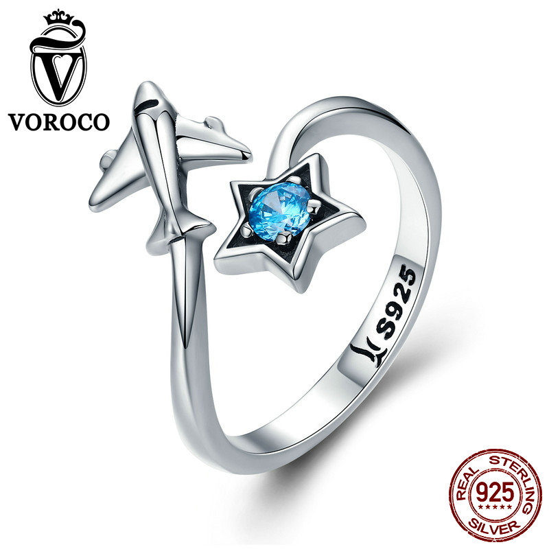 VOROCO Glitter Blue Zirconia Ring Authentic 925 Sterling Silver Cute Airplane Rings Woman Female Anniversary Fine Jewelry BKR322 image