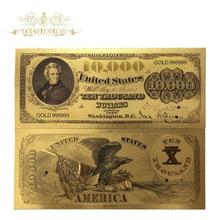 10 шт./лот, красивая американская банкнота, 1878 год, 10 000 долларов США, банкноты в 24k позолоченные поддельные бумажные деньги для сбора