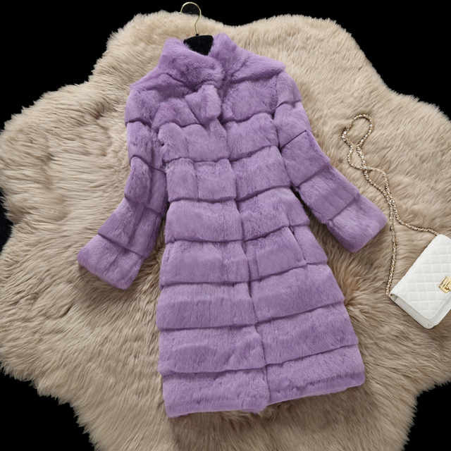 Top quality wave cut natural rabbit fur winter coats women stand collar long slim thickening warm real fur coat outerwear