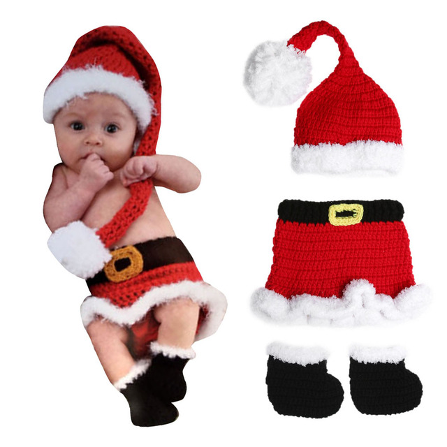 3pcs newborn crochet knit xmas santa cute costume baby christmas style dress shoes cap red cute