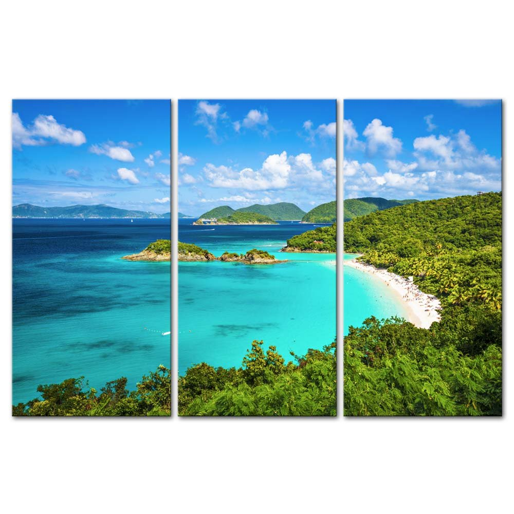 3 Pieces Trunk Bay St John Virgin Islands United States Seascape Beach Framed Picture Painting On Canvas Print Drop shipping