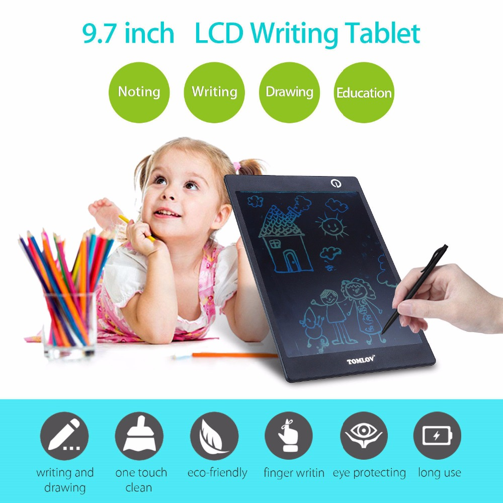TOMLOV 9.7 inch Portable Colorful LCD Writing Drawing Board Tablet Pad Notepad Electronic  Digital Handwriting with stylus pen