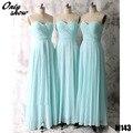 Cheap Sweetheart Chiffon Bridesmaids Dresses Formal Long Dress Back Zipper Floor Length Vestido De Festa