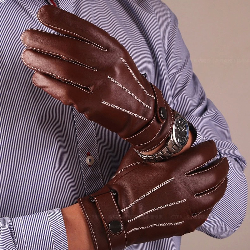 Mens Gloves Sheepskin Genuine Leather Gloves Button Wrist Solid Male Leather Gloves Fashion Men's Driving Winter Warm Gloves