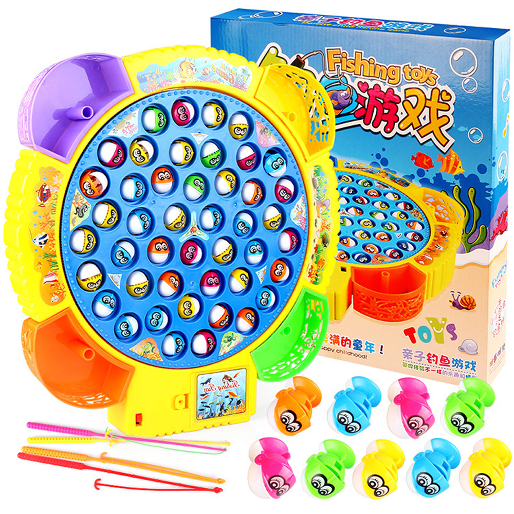 Kids Classical Fishing Toys Set Electronic Rotating Fishing Game with Music Educational Toys for Children Gifts