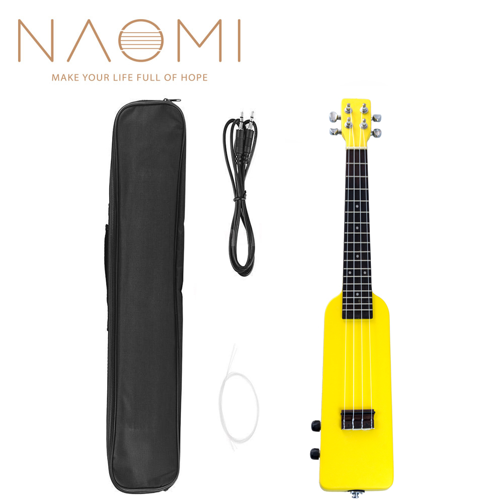"NAOMI 23"" Okoume Electric Ukulele Ukelele Uke Kit W/Gig Bag 3.5mm Audio Cable Silent Electric Ukulele Concert Uke SET-Yellow"