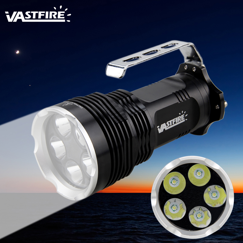 5000lm Handheld XML T6 LED Flashlight Brightness Torch Hunting Lamp+4x18650+2xCharger