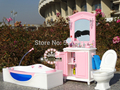 girls play house Girl birthday gift  Play Set Furniture(Bathroom +Toilet suite +dDressing table)accessories for barbie doll