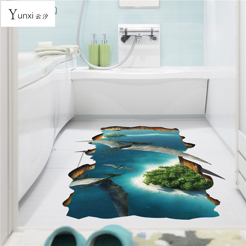 YunXi 3D Animal World Cute Floor wall Stickers Novelty Living Room Decal Removable False window Waterproof Home Decor 67*88CM