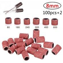 100 pçs bandas de lixamento banda tambor grit lixa + 2 mandril para a forma de areia sulco madeiras fibra de vidro dremel ferramenta giratória