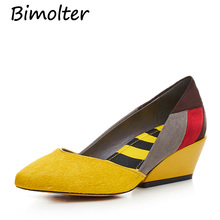Bimolter Mixed Colors Wedges High Heels horsehair Medium Genuine Leather Women Pumps Fashion Sexy Heel Shoes LCSB008