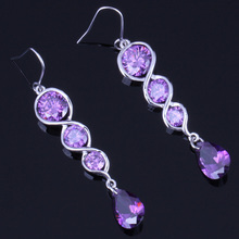 Attractive Water Drop Purple Cubic Zirconia 925 Sterling Silver Dangle Earrings For Women V0211