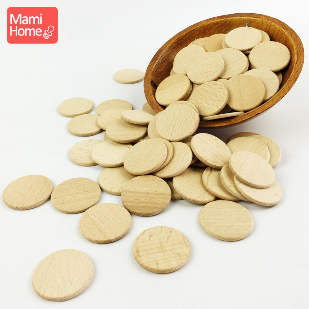 30pc 37mm Unfinished Wood Discs Coin Circle Beech Round Smooth Wooden Can Custom Wood Blanks Baby Teether Children'S Goods Toys