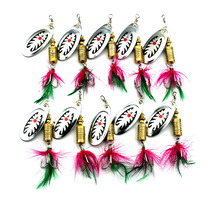 HENGJIA 10pcs Spoon Lure Spinnerbait Fishing Lure Hard Metal Sequins 7.5CM 10G Pesca Fishing Tackle