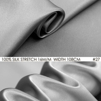 SILK STRETCH SATIN Fabric 108cm width 16momme/95% Natural Mulberry Silk Fabric+5% Spandex for Wedding Party Dress Grey NO 27