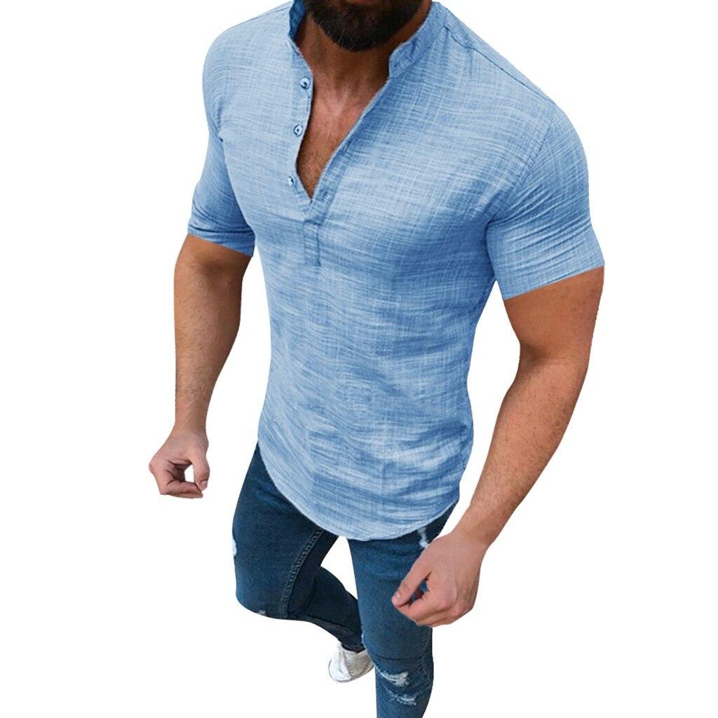 Men's Casual Blouse Cotton Linen shirt Loose Tops Short Sleeve Tee Shirt S-2XL Spring Autumn Summer Casual Handsome Men Shirt 3